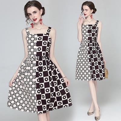 吊帶洋裝 歐美時尚格子顯瘦印花吊帶連身裙 5634N601B紅粉佳人