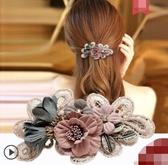 復古頭飾布藝花朵發夾后腦勺