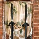美式熱帶植物北歐風格提拉簾窗簾櫥窗簾背景簾國外窗簾系帶簾羅馬 深藏blue