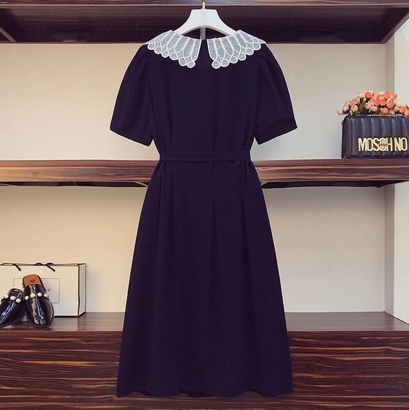 洋裝短袖裙子中大尺碼L-4XL胖mm時尚娃娃領顯瘦減齡中長款連身裙4F093-3236.胖妹大碼