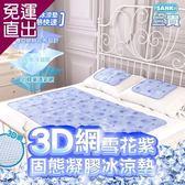 日本SANKI 3D網雪花紫固態凝膠冰涼墊1床90x140cm【免運直出】