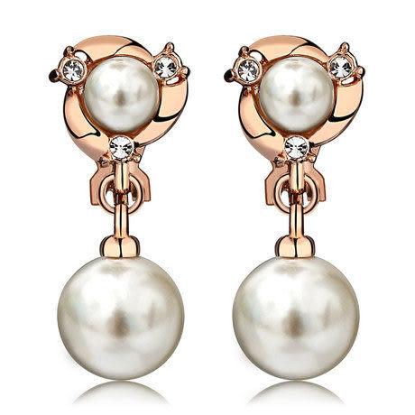 時尚U型珍珠耳墜假耳環