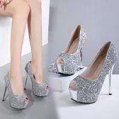 10~12CM公分以上新品亮片尖頭高跟鞋細跟單鞋淺口性感夜店女潮鞋【好康八五折】