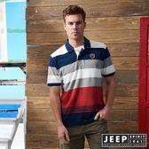 【JEEP】品牌經典撞色條紋短袖POLO衫 (紅)