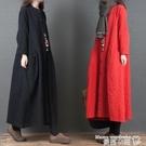 棉麻洋裝 2021秋冬新款女裝復古寬鬆大...