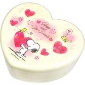 〔小禮堂〕史努比愛心 塑膠掀蓋收納盒附鏡《粉抱愛心》飾品盒珠寶盒4548626 09342