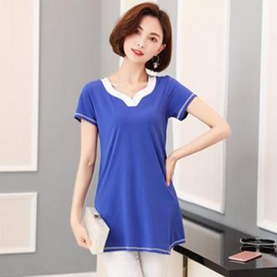 T恤。中大尺碼寬鬆純棉v領短袖T恤上衣 M-4XL      韓依紡