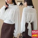 1015 氣質鬆緊高領!透膚感雪紡上衣,超大微美澎澎袖,下襬可綁結,十分甜美浪漫唷!