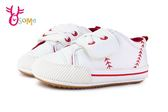 寶寶學步鞋 棒球皮革軟底舒適嬰兒布鞋 F3097#白色◆OSOME奧森童鞋