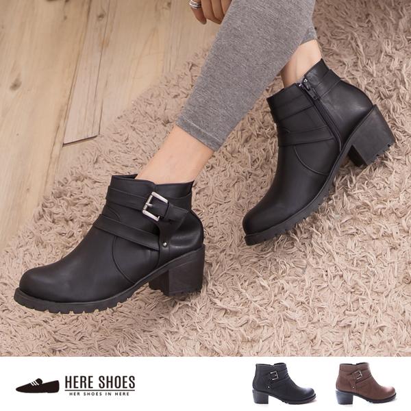 [Here Shoes]2色 皮革材質內開拉鍊好穿多5CM粗跟繫帶粗跟馬丁靴 機車靴 ◆MIT台灣製─KTPW9375