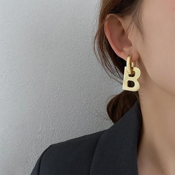 耳飾 歐美金屬B字母耳環女2021年新款潮個性簡約冷淡風耳釘時尚耳飾品【快速出貨八折鉅惠】