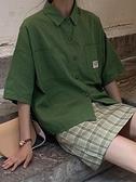 港風短袖襯衫女復古夏季新款小清新工裝襯衣寬鬆學生休閒網紅上衣 米娜小鋪