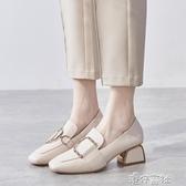 高跟鞋 粗跟單鞋女鞋熱銷新款秋鞋網紅高跟鞋百搭英倫風小皮鞋中跟樂福鞋 港仔會社