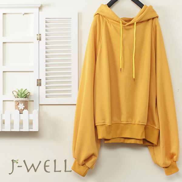 J-WELL 純棉素面泡袖連帽T(3色) 9J1118