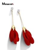 時尚花朵秋冬絨布耳環女韓版氣質長款紅色耳墜送女友新年禮物耳飾