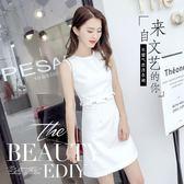 夏季新品正韓女裝修身顯瘦無袖名媛氣質清新小心機連衣短裙子