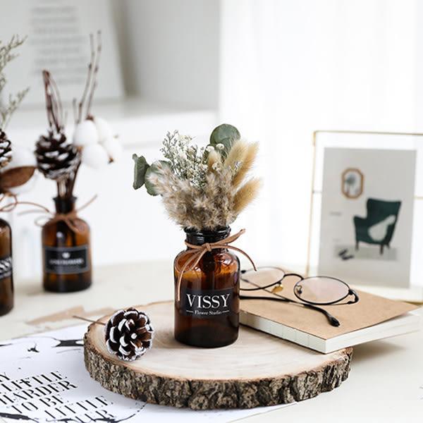 【BlueCat】夢幻 稻穗 松果 兔尾草 乾花棕色玻璃瓶裝 拍照道具 乾燥花 花瓶
