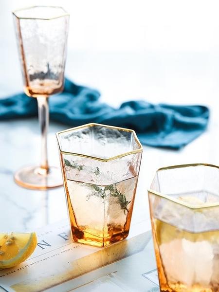 酒杯 舍里六邊形描金邊錘目紋香檳色玻璃杯紅酒杯香檳杯威士忌杯高腳杯