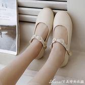 少女大童皮鞋春季公主淺口休閒鞋初中小學生平底百搭花朵淑女單鞋艾美時尚衣櫥