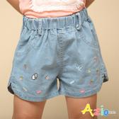 Azio 女童 短褲 兔子草莓櫻桃小花刺繡牛仔短褲(藍) Azio Kids 美國派 童裝