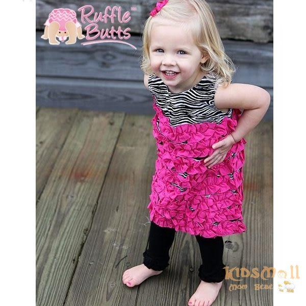 美國Ruffle Butts,荷葉邊連身洋裝-Zebra Fuchsia Woven