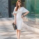 OL洋裝 夏季連身裙女神范白色修身宴會禮服裙名媛氣質OL小香風披肩包臀裙