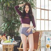 泳衣女保守分體學生高腰韓國顯瘦小清新小胸聚攏性感比基尼游泳裝      柠檬衣舍