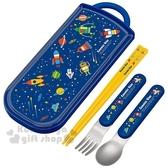〔小禮堂〕COSMIC STAR 日製滑蓋三件式餐具組《深藍.火箭》筷子.叉匙.環保餐具 4973307-44386