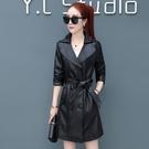 皮衣女秋季新款韓版PU機車皮上衣中長款外套