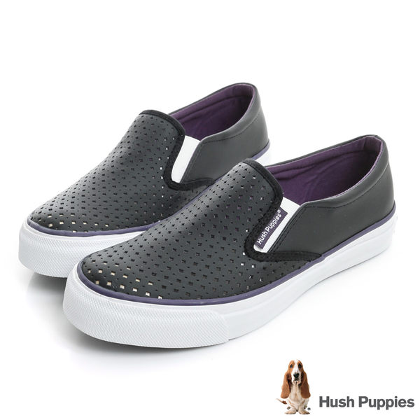 Hush Puppies 涼感沖孔咖啡紗皮質中性懶人鞋-黑/紫