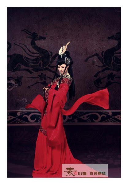 古裝唐裝漢服/影樓古裝攝影/大紅色曲裾