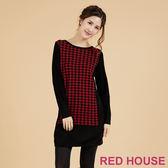 RED HOUSE-蕾赫斯-千鳥格長版針織上衣(共三色)