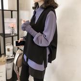 藍色巴黎 ★ 韓版氣質喇叭袖襯衫+長袖寬鬆系帶蝴蝶結背心上衣 兩件式套裝《3色》【28651】