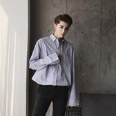 長袖襯衫-直條紋韓版時尚休閒百搭男上衣2色73po8【巴黎精品】