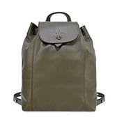【南紡購物中心】LONGCHAMP LE PLIAGE CUIR系列黑釦小羊皮後背包(中/墨綠)