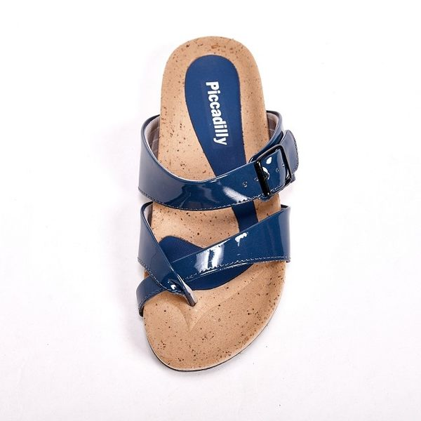 Piccadilly 交叉設計平底夾腳拖鞋女鞋 藍(另有灰、白)