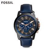 FOSSIL Grant 藍色皮革計時手錶 男 FS5061