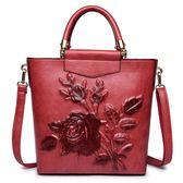包包女2019新款復古單肩斜挎時尚大氣中國風花朵軟皮大容量手提包