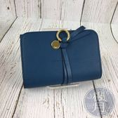 BRAND楓月 CHLOE 藍綠 釦式 中夾 短夾 錢包