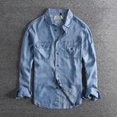 長袖襯衫 復古懷舊水洗做舊簡約口袋裝飾春夏男士棉麻牛仔長袖襯衫