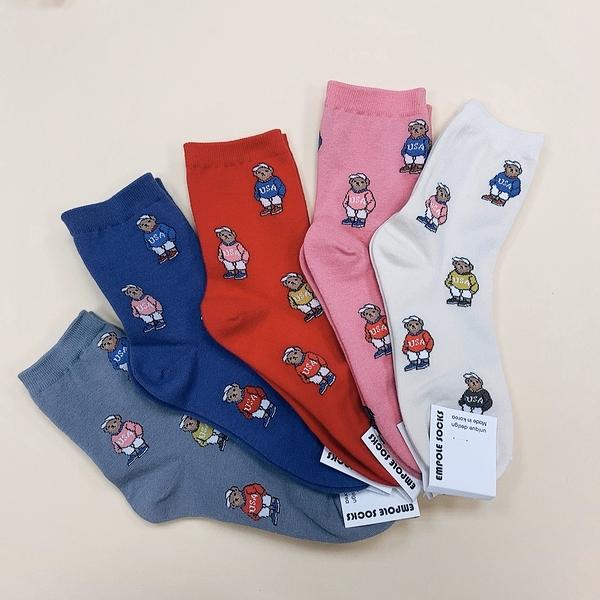 USA 美國小熊 中長襪 小熊滿版 韓國襪子 泰迪熊