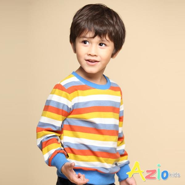 Azio 男童 上衣 彩色條紋長袖上衣T恤(藍) Azio Kids 美國派 童裝