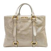 miu miu 繆繆 象牙色牛皮手提斜背兩用包 Shopper Tote Bag RN1037【BRAND OFF】
