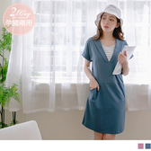 《MA0296》孕哺兩用~高含棉條紋假兩件彈力翻領孕婦洋裝 OrangeBear