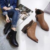 高跟短靴-復古英倫風拼接設計女馬丁靴2色73is8[時尚巴黎]