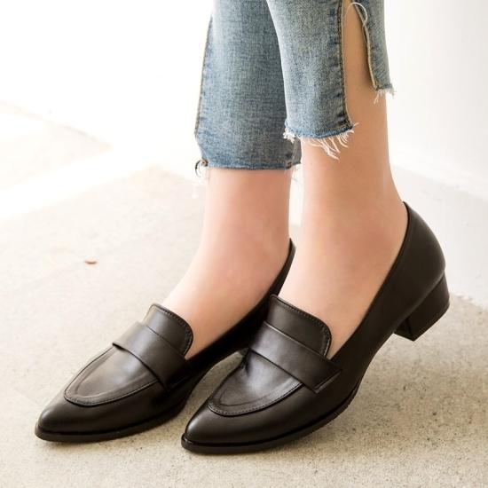 小皮鞋.MIT韓版知性簡約樂福低跟包鞋.白鳥麗子