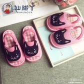 春季手工納底女童1-3-6歲兒童家居寶寶軟底棉布拖鞋 深藏blue