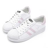 PLAYBOY 經典升級 亮蔥條紋仿皮休閒鞋-白粉(Y6318)