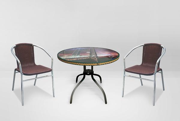 【 IS空間美學】編織休閒90圓桌+鋁管休閒藤椅 (一桌二椅)
