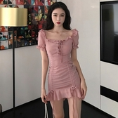 雪紡洋裝夏季女裝新款抽繩一字領短袖雪紡收腰顯瘦包臀荷葉邊連身裙A字裙 suger